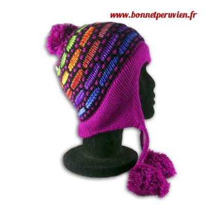 Bonnet péruvien pompon violet clair