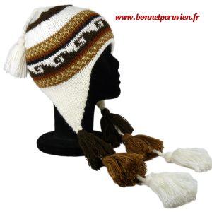 Bonnet péruvien avec pompon marron