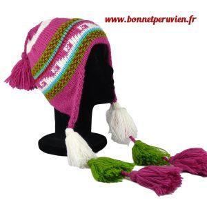 Bonnet Péruvien avec pompon fuschia