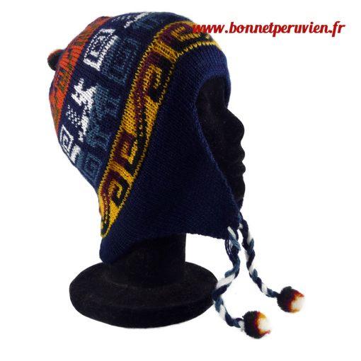 Bonnet péruvien bleu foncé