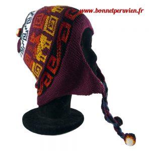 Bonnet péruvien bordeau