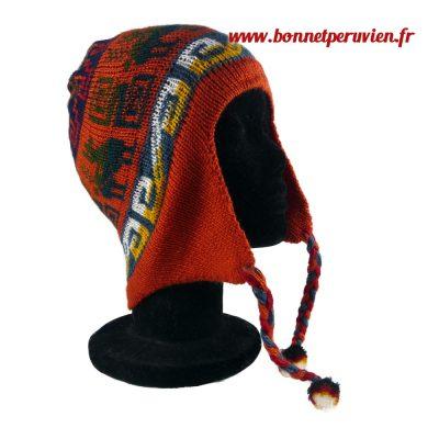 Bonnet peruvien orange